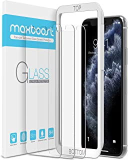 Maxboost Screen Protector for Apple iPhone Xs & iPhone X (Clear, 3 Packs) 0.25mm iPhone Xs/X Tempered Glass Screen Protect...