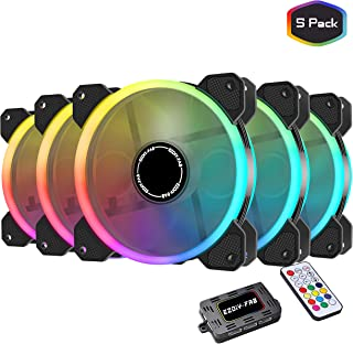 EZDIY-FAB 120mm RGB Case Fan 5-Pack,Quiet Edition High Airflow Adjustable Color LED Case Fan for PC Cases, CPU Coolers with Remote Controller