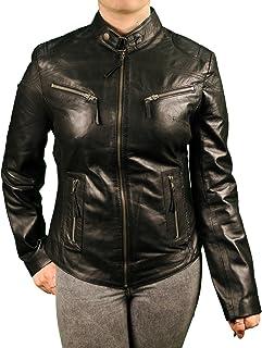 8f546476d3 Aviatrix Veste en Cuir véritable Femme Style rétro Veste de Moto