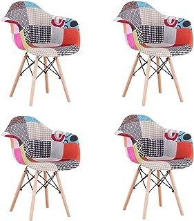 Uderkiny Conjunto de 2/4 sillas de Comedor Patchwork con reposabrazos, Apto para Cocina salón Comedor Dormitorio, etc. (Rojo-4)