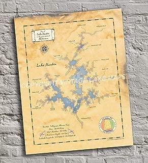 Lake Martin - Alabama - Vintage-Inspired Lake Map Print Poster, Unframed 11