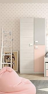 Armario ropero juvenil infantil 3 puertas barra interior y 3 estantes color blanco gris y rosa pastel de dormitorio (med...