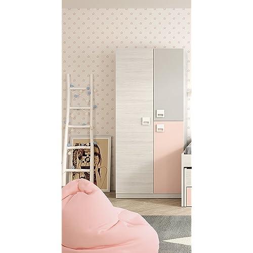 Armario ropero juvenil infantil 3 puertas, barra interior y 3 estantes color blanco, gris