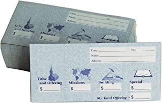 Church Offering/Tithe Donation Envelopes, Friendly Welcome Message, Missions, Building & Special, Simple Design, Easy-Open Tab, Fits Bills & Checks - Blue - Package of 125
