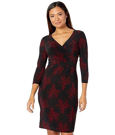 LAUREN Ralph Lauren Cleora Floral Dress (Black/Lakehouse Red) Women