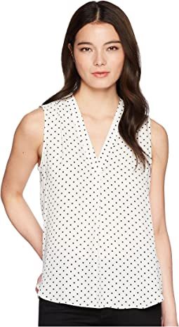 Petite Sleeveless Poetic Dots V-Neck Blouse