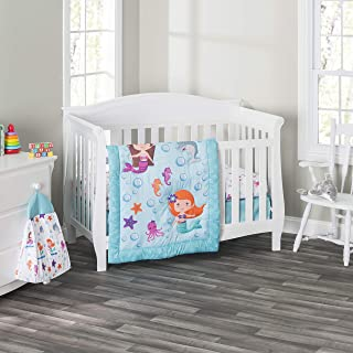 Everyday Kids 3 Piece Girls Crib Bedding Set - Mermaid Adventures - Includes Quilt, Fitted Sheet and Dust Ruffle - Nursery...