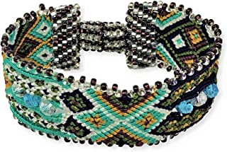 Mayan Arts Friendship Bracelets for Women and Girls, Turquoise, Purple, and Green, Beaded, Magnetic Closure, Shabby Chic, Boho, Gift, Women Fashion, Handmade in Guatemala 1 x 6.75 Inches