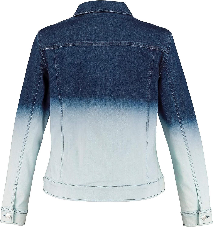 Ulla Popken Womenswear Plus Size Curvy Oversize Dip Dye Button Front Denim Jacket 727375
