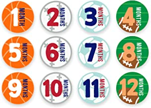 Tiny Ideas First Year Monthly Milestone Sports Baby Belly Stickers, Basketball, Baseball, Soccer, and Football, 1-12 Months