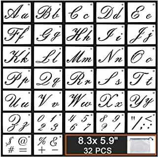 GUVVEAZ Painting Letter Stencils on Wood, 32 PCS Reusable Washable Template with Calligraphy Font Uppercase and Lowercase Alphabet, Numbers and Signs, with Portable Zipper Bags, 8.3