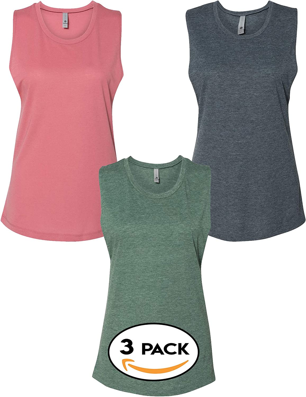 Next Level Multipack Women Bundle Bulk Festival Muscle Tank Tops 3, 6 or 10 Pack - Make Your Own Assorted Color Set