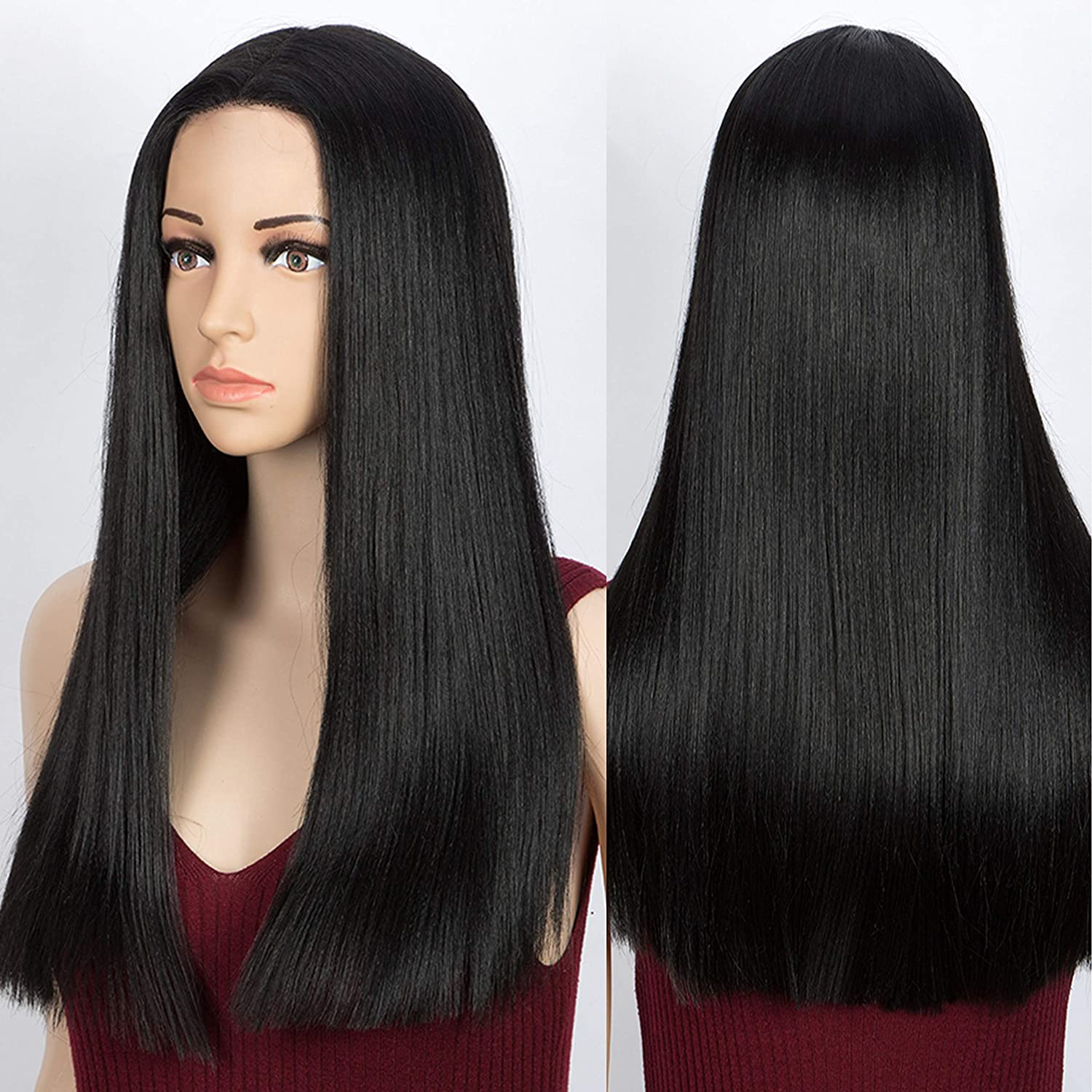Akkya 20 Inch Long Black Wigs for Straight OFFicial depot Women Middl Synthetic
