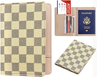 Luxury Passport Holder Cover Case Checkerboard PU Vegan Leather RFID Blocking Travel Organizer Card Holder(Tiffany)