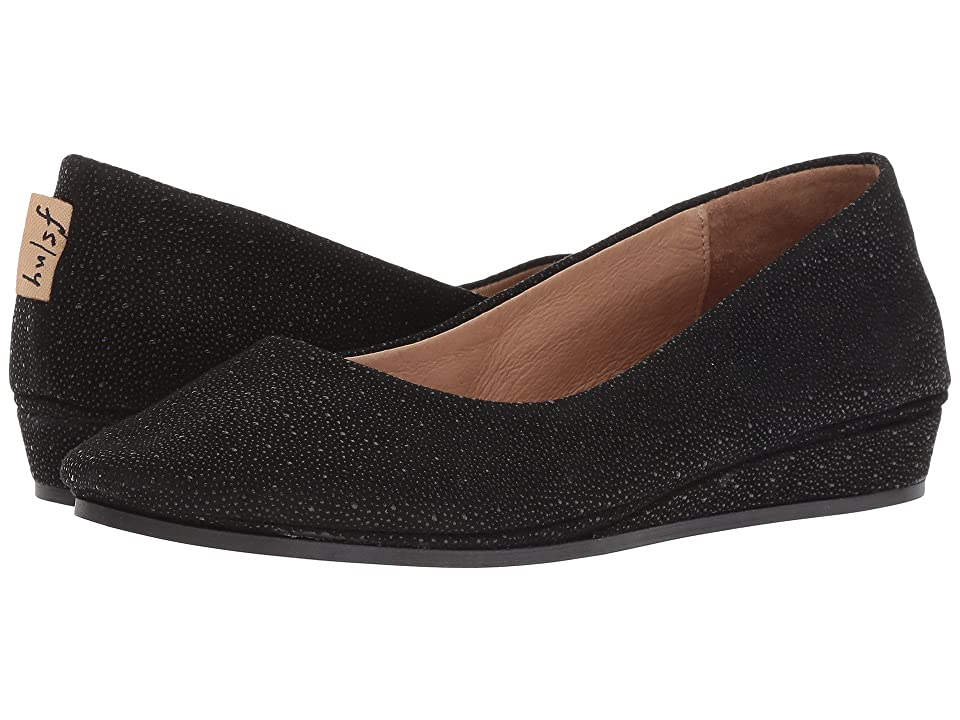 French Sole Zeppa Flat (Black Stingray) Women