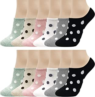 CUTIE MANGO Women's Casual Cute Dot Non Slip Low Cut No Show Ankle Socks Liners 6 Colors / 3 to 12 Pairs