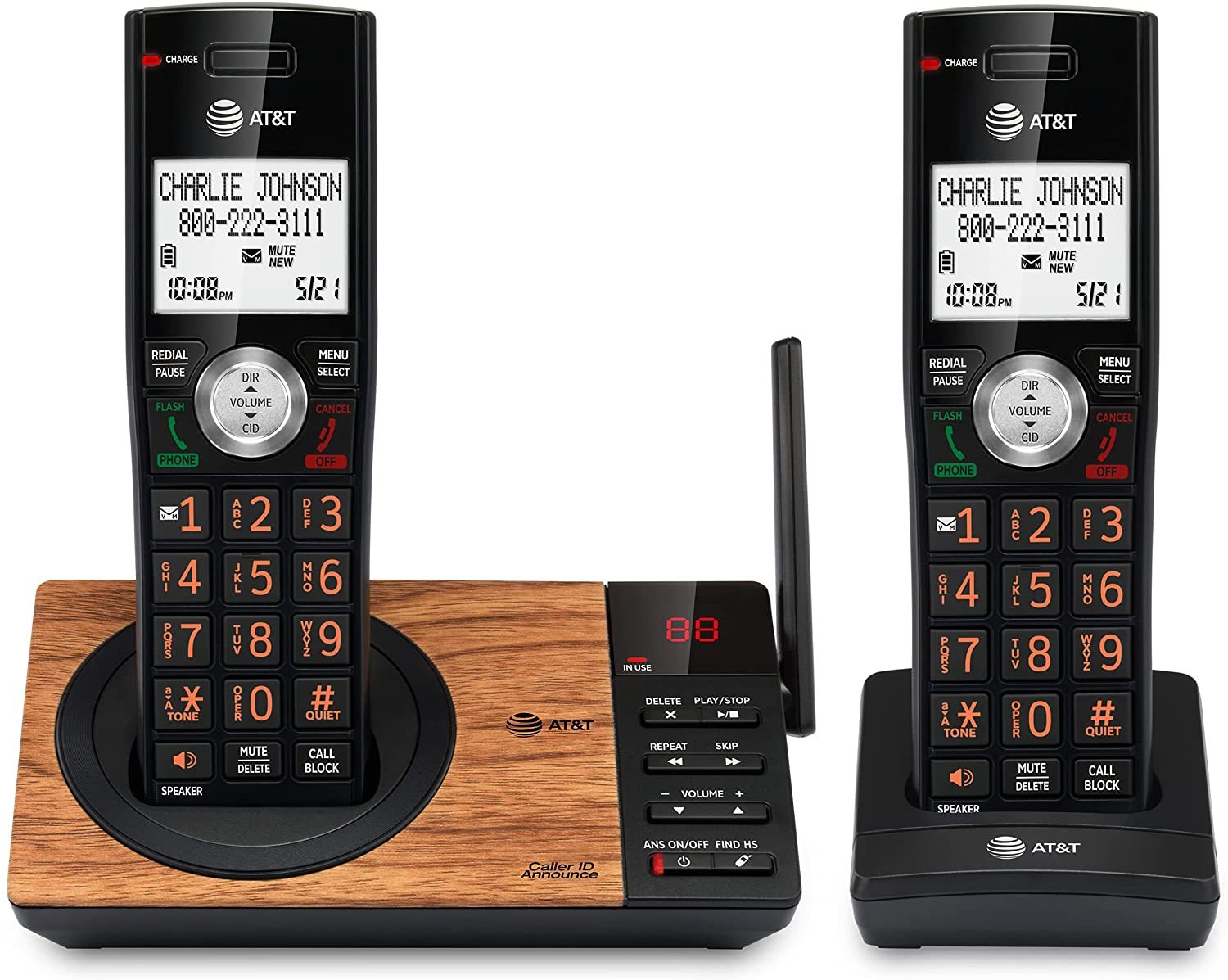 AT&T CL82267 DECT 6.0 2-Handset Cordless Phone for Home with Answering Machine, Call Blocking, Caller ID Announcer, Intercom and Long Range, Black & Wood Grain Finish