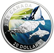 2018 CA Canada $20 1 oz Silver Geometric Fauna: Orcas 1 OZ About Uncirculated