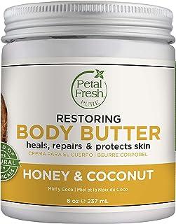 Petal Fresh Pure Restoring Honey & Coconut Body Butter, Organic Coconut Oil, Argan Oil, Shea Butter, Intense Hydration, Fo...