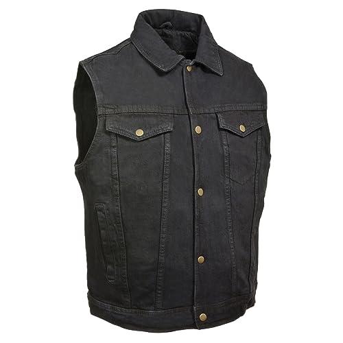 Men/'s Denim Motorcycle Vest Concealed Snaps Biker Apparel Daniel Smart DM981BK
