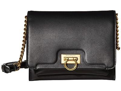 Salvatore Ferragamo Gancio Flap Crossbody Small (Nero) Handbags