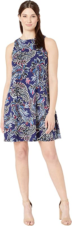 Scuba Crepe Painted Paisley Sleeveless Trapeze Dress