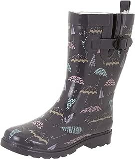 Capelli New York Ladies Shiny Umbrella Mid-Calf Rain Boot Grey Combo 8