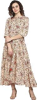 Janasya Women's Light Pink Rayon Ethnic Dress
