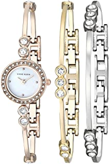 Anne Klein Women's AK/1690TRST Bangle Watch and Bracelet Set, Swarovski Crystal-Accented Rose Gold-Tone