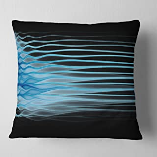 Designart Light Blue Fractal Flames' Abstract Throw Cushion Pillow Cover for Living Room, Sofa 18 in. x 18 in