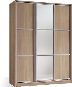 Armario ropero para dormitorio o habitacion en color cambrian y puerta de espejo, con 3 puertas correderas, barra para colgar y estantes regulables 150x200x55