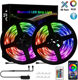 40feet Bluetooth LED Strip Lights, Smart Strip Light Music to Sync 5050 360pcs Phone App Controlled Color Changing Lights Music LED Strip Lights for Home TV Bedroom, LED Wireless Lights Strip