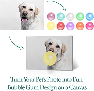 Smile Art Design Custom Canvas Personalized Photo for Your Pet Prints with Funny Animal Bubble Gum Picture Canvas Print Put Your Photo on Canvas Kids Room Nursery Gift Wall Art Ready to Hang - 8x12