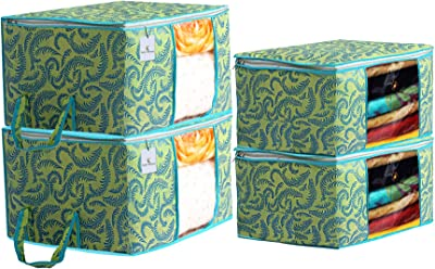 Kuber Industries Metallic Printed Non Woven 2 Pieces Saree Cover and 2 Pieces Underbed Storage Bag, Cloth Organizer for Storage, Blanket Cover Combo Set (Green) -CTKTC038523