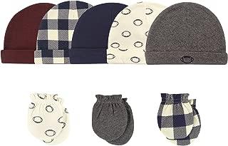Baby Girls' Cotton Cap and Scratch Mitten Set