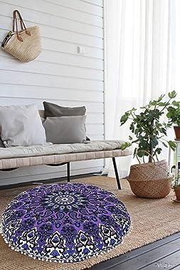 Rajwada Fashion Large Hippie Mandala Round 32 inch Floor Pouf Cushion Cover Hippie Decorative Indian Bohemian Seating Ottoman