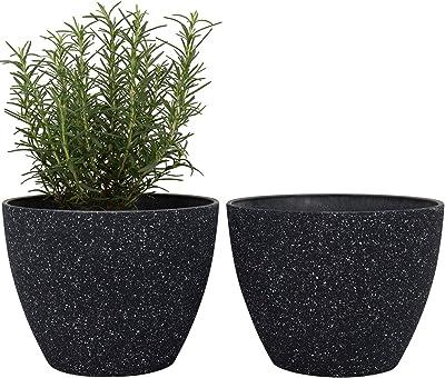 La Jolíe Muse - Macetas de jardín para exteriores, 19 cm, maceta para jardín, patio, terraza, jardín, color negro: Amazon.es: Jardín