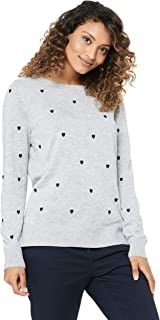 French Connection Women's Heart Embroidered Knit, Grey Marle/Navy