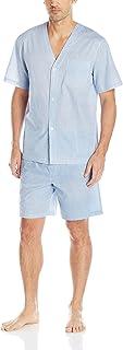 Men's Broadcloth Short Sleeve Pajama Set, French Blue, Large