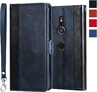 Sony Xperia XZ3 ケース エクスペリア XZ3 ケース 手帳型 財布型 レザー 耐衝撃 全面保護 サイドマグネット カード収納 スタンド 機能 カバー シンプル 高級 ワイヤレス充電対応 スマホケース スマホカバー ブルー