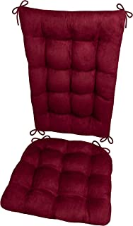 Barnett Home Decor Microsuede Rocking Chair Cushions - Latex Foam Filled Seat Pad and Back Rest Cushion - Microfiber Vegan Suede, Reversible, Machine Washable (Wine Red, Extra-Large)