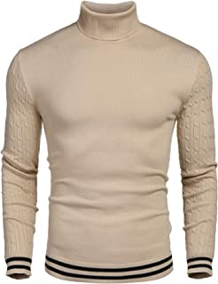COOFANDY Men's Basic Ribbed Thermal Knitted Pullover Slim Fit Turtleneck Sweater