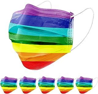 5er Set Mundschutz Alltagsmaske 100% Vlies 3lagig in Uni farbig, Regenbogen Unisex Stoffmaske (1x 5er Pack Rainbow)…