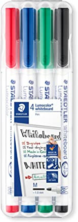 Staedtler 301 Lumocolour Dry Wipe/Whiteboard Pen - Assorted Colours, Pack of 4