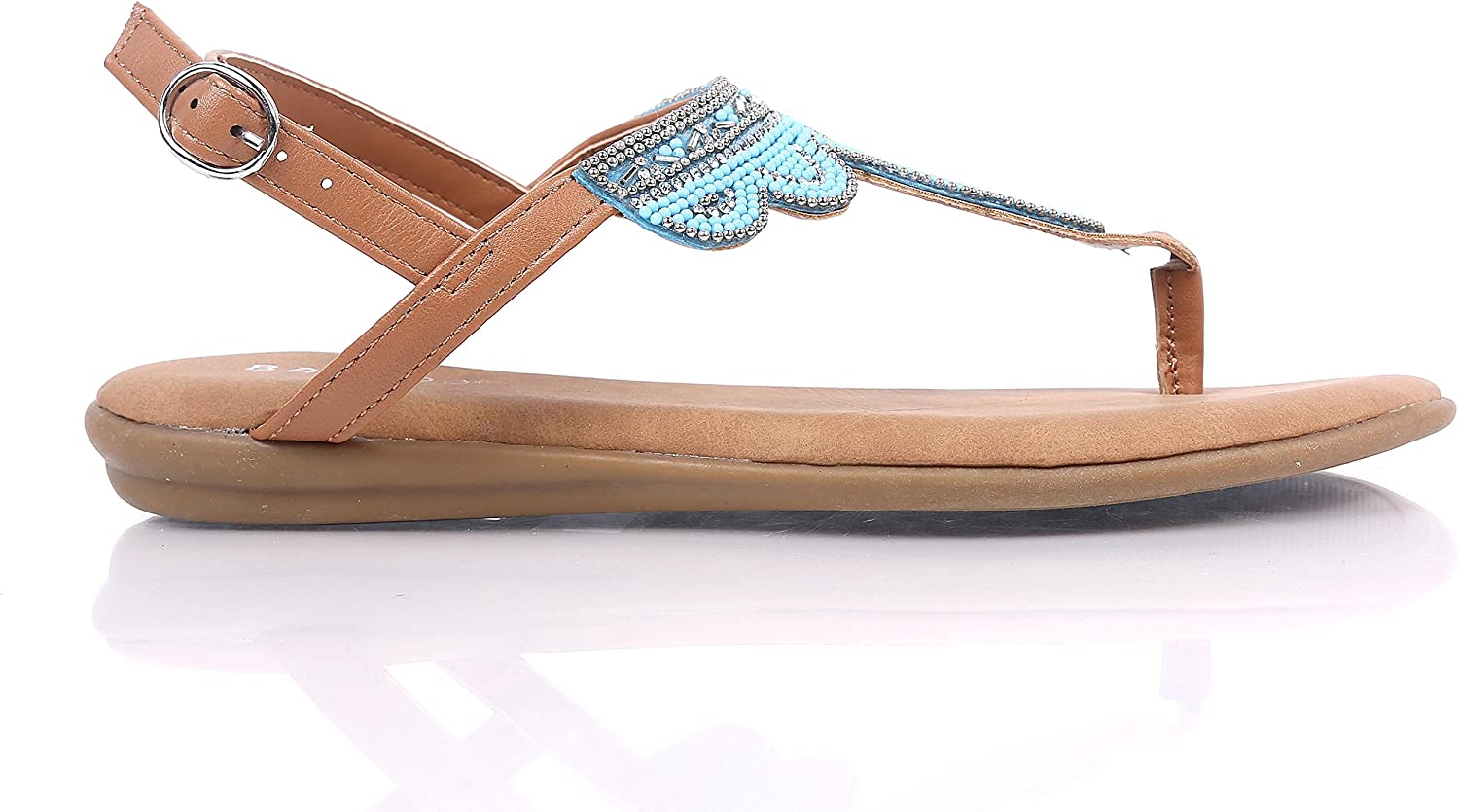 Bamboo Womens Thong T-Strap Flat Sandals Slip-on Slingback Buckle Closure Jewells Beaded Embroidery shoes