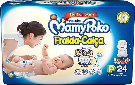 MamyPoko Fralda-Calça, Tamanho P (3-8 Kg), Pacote com 24 Unidades