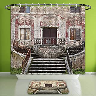 Waterproof Shower Curtain and Bath Rug Set Tuscan Decor Collection Rustic Window with Old Wooden Shutter and Clay Flower P Bath Curtain and Doormat Suit for Bathroom Extra Wide Size 78