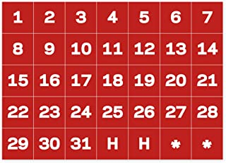 MasterVision Calendar Date Magnets, 1 x 1 Inches Each, 35 Magnets, White/Red