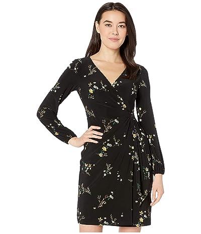 LAUREN Ralph Lauren Petite Floral Tie-Front Jersey Dress (Black/Gold Ochre/Multi) Women