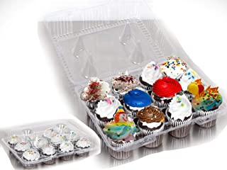 12-Compartment Cupcake Boxes, Cupcake and Muffin Containers 12 Pack Cupcake Container, (12-Compartment Cupcake Containers)